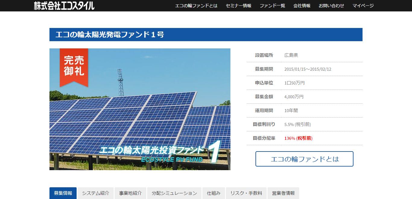 エコの輪太陽光発電ファンド1号
