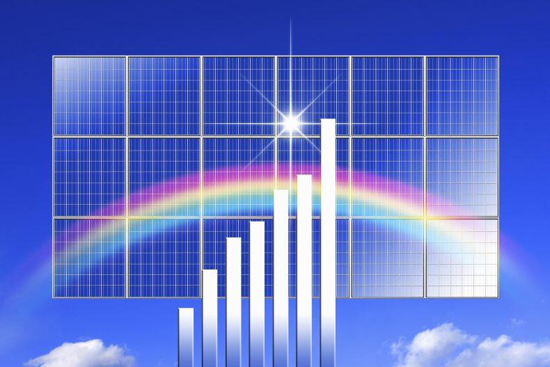 天候によって発電量が変化するイメージ